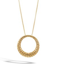 John Hardy Classic Chain Large Circle Pendant Necklace In 18K Gold 36
