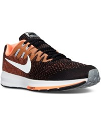 Nike Men's Air Zoom Structure 20 Running Sneakers From Finish Line Black White Total Orange