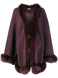 N.Peal Fox Trim Knitted Cape Pink And Purple