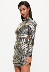 Missguided Black High Neck Embellished Bodycon Dress