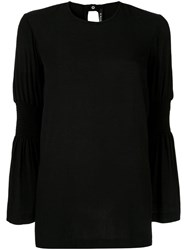 Kitx Crushed Shirred Blouse Black