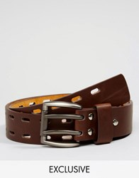 Reclaimed Vintage Leather Belt With Double Prong Brown