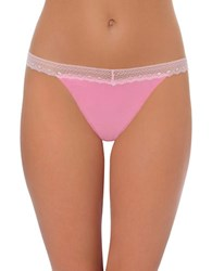 Design Lab Lord And Taylor Lace Trim Cotton Blend Thong Cyclamen