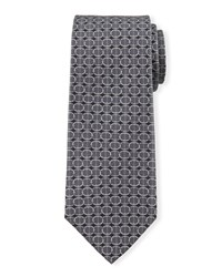 Circle Print Silk Tie Black Davidoff