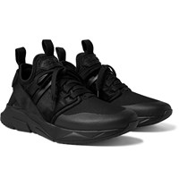 Tom Ford Vellus Suede And Rubber Trimmed Neoprene And Mesh Sneakers Black