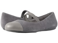 Softwalk Napa Mj Dark Grey Pewter Casual Suede Smooth Metallic Pu Women's Flat Shoes Gray