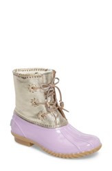 Jack Rogers Women's 'Chloe' Rain Boot Lilac Metallic Leather Rubber