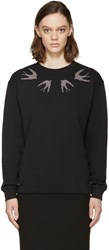 Mcq By Alexander Mcqueen Black Studded Swallow Sweatshirt