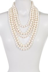 Madison Parker Multi Stand Simulated Pearl Beaded Necklace White