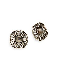 Heidi Daus More Than A Dream Swarovski Crystal Button Earrings Goldtone Gold Multi