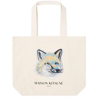 Maison Kitsune Pastel Fox Head Tote Bag Neutrals