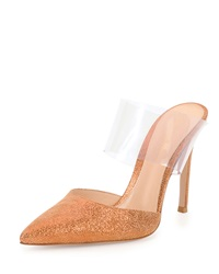 Gianvito Rossi Metallic Leather And Pvc Mule Palladium