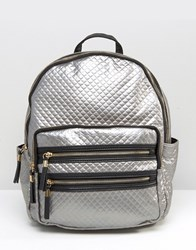 New Look Metallic Quilted Backpack Silver
