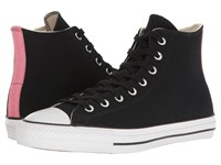 Converse Chuck Taylor All Star Pro Suede Backed Canvas Hi Black Pink Glow Natural Men's Skate Shoes
