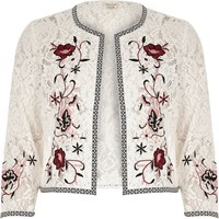 River Island Womens White Floral Embroidered Lace Bolero Jacket