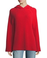 Elizabeth And James Tristan Cashmere Hooded Waffle Sweater Red