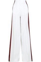 Jonathan Saunders Cici Satin Paneled Crepe Wide Leg Pants White Burgundy