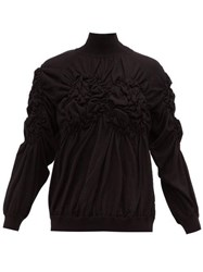 Simone Rocha Gathered Wool Blend Sweater Black