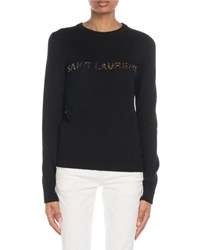 Saint Laurent Crewneck Glitter Logo Wool Sweater Black