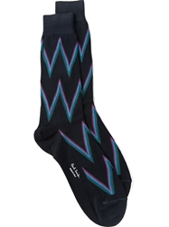 Paul Smith Zig Zag Socks Blue