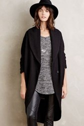 Anthropologie Windsor Boiled Wool Sweater Coat Black
