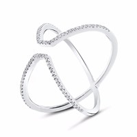 Cosanuova Runway Diamond Ring 18K White Gold Silver