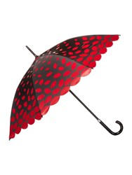 Lulu Guinness Laser Cut Scalloped Edge Umbrella Black Multi