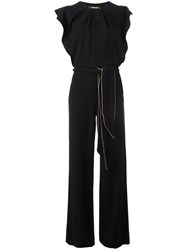 Roberto Cavalli Piped Trim Jumpsuit Black