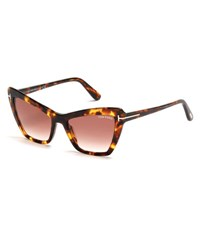 Tom Ford Valesca Cat Eye Sunglasses Brown Dark Havana