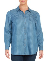 Lord And Taylor Plus Dotted Button Front Shirt Blue