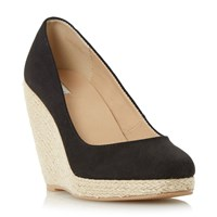 Linea Arnia Espadrille Wedge Court Shoes Black