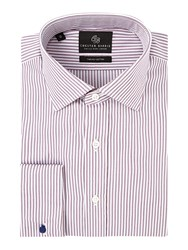 Chester Barrie Men's Contemporary Twill Stripe Shirt Wine