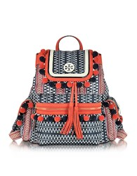 Tory Burch Scout Multicolor Nylon Pom Pom Backpack Red