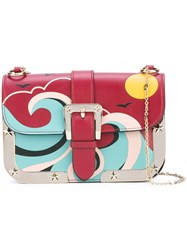 Red Valentino Abstract Patterned Shoulder Bag Women Cotton Calf Leather One Size Red