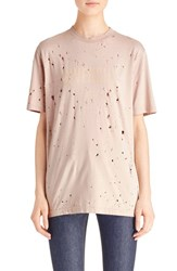Givenchy Women's Logo Print Destroyed Stretch Jersey Tee