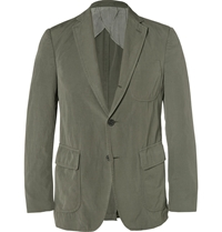 Wooster Lardini Army Green Cotton Flax And Wool Blend Blazer