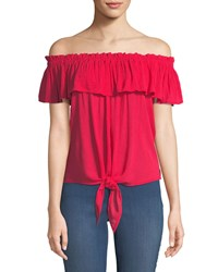 Dex Off The Shoulder Tie Hem Blouse Red