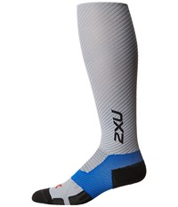 2Xu Elite Lite X Lock Compression Socks Light Grey Titanium Men's Knee High Socks Shoes Multi