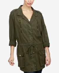 Lucky Brand Drawstring Waist Military Jacket Olive