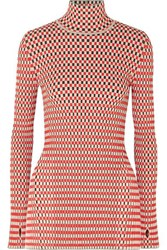 Paco Rabanne Reversible Checked Cotton Blend Top Red