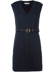 Tibi V Neck Dress Blue