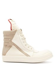 Rick Owens Geobasket High Top Leather Trainers White Multi