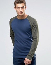 Esprit Raglan Long Sleeve Top In Slim Fit Navy