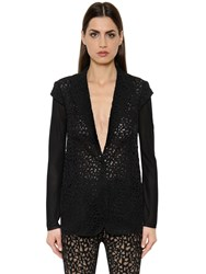 Akris Techno Georgette Lace And Knit Jacket