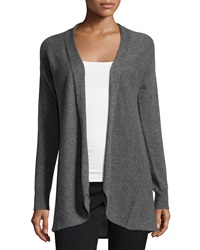 Neiman Marcus Cashmere Pleated Back Open Front Cardigan Derby Gray