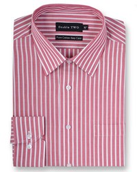 Double Two Men's Striped 100 Cotton Formal Shirt Red