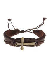 Jean Claude Cross Accent Leather Bracelet Brown