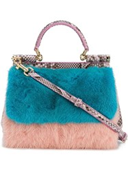 Dolce And Gabbana Mink Fur Python 'Sicily' Tote Blue