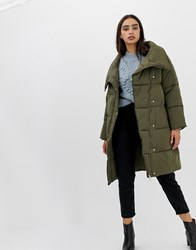 Miss Selfridge Longline Padded Coat In Khaki Green