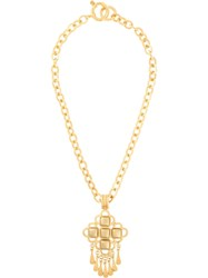 Chanel Pre Owned 1995 Cc Logo Fringed Necklace Gold